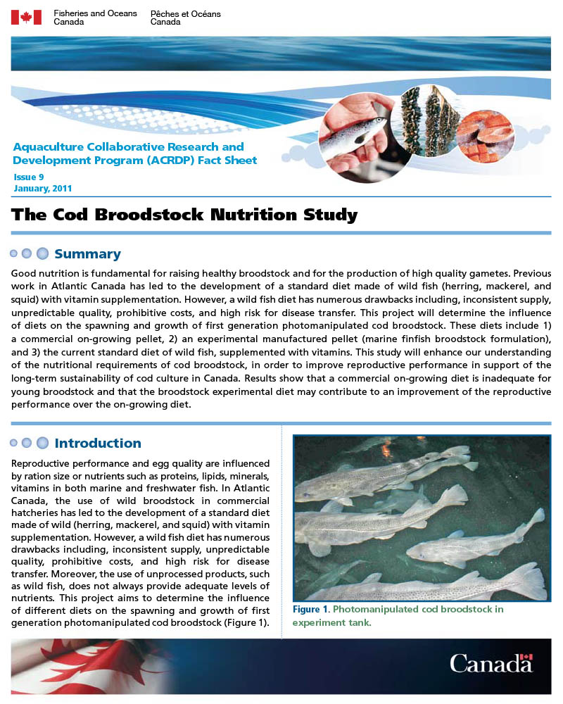 Freshwater fish nutrition - Aquaculture Collaborative Research And Development Program Acrdp Fact Sheet
