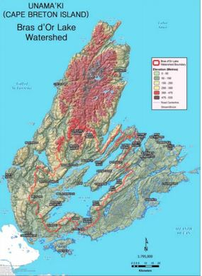 Map depicting area covered by the Bras d'Or Lakes' Collaborative Environmental Planning Initiative in central Cape Breton Island, Nova Scotia.