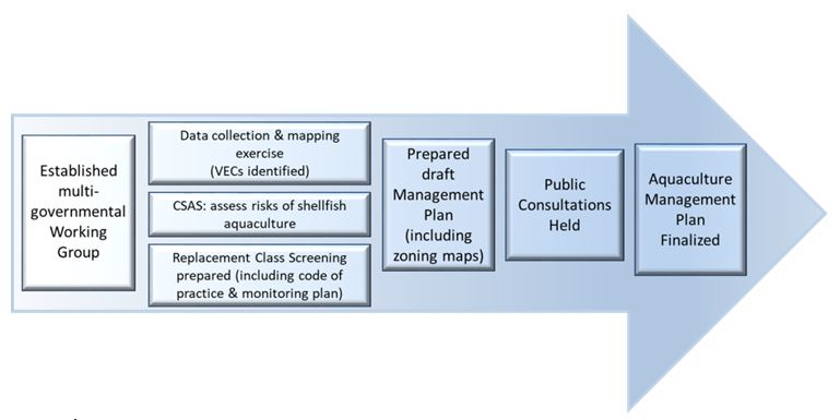 Process flow figure for the development of aquaculture bay management plans in New Brunswick.