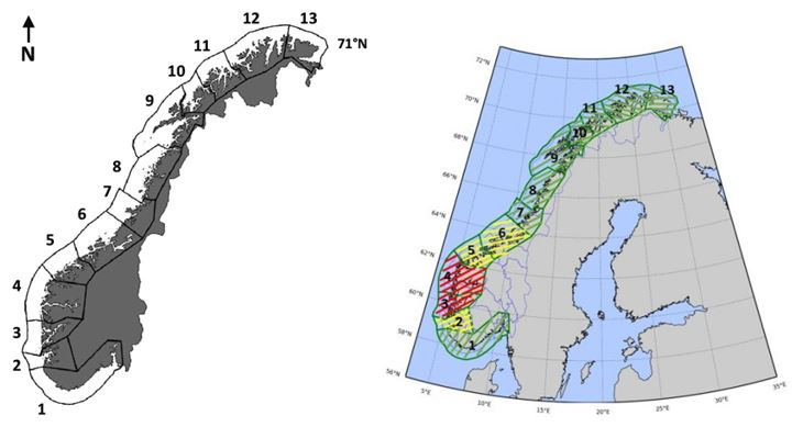 Map identifying 13 aquaculture management zones in Norway.