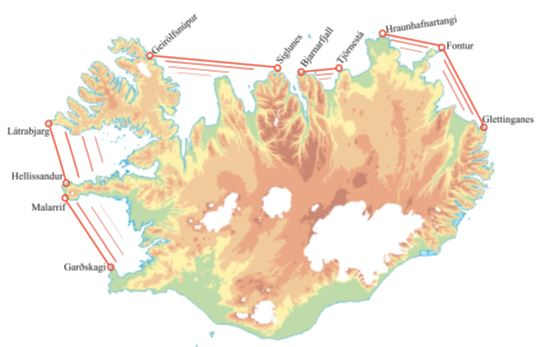 Map of Iceland with identified Salmon Protection Zones.