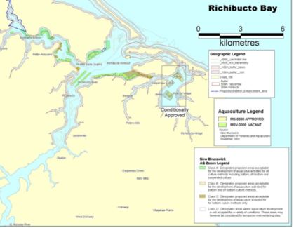 Map of Richibucto Bay, New Brunswick showing aquaculture zones and vacant and approved aquaculture leases.