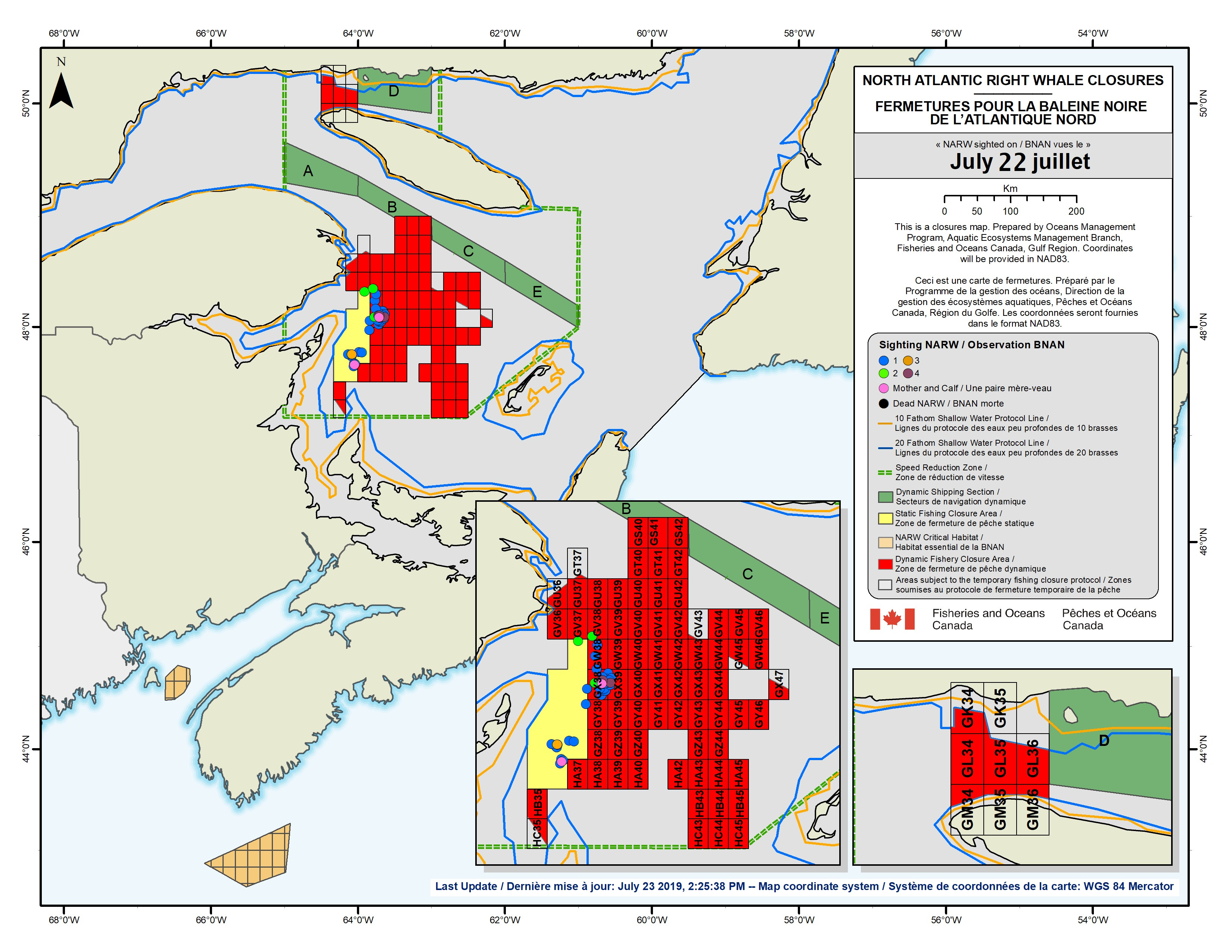 Map identifying all grid closures in Atlantic Canada due to the presence of NARW
