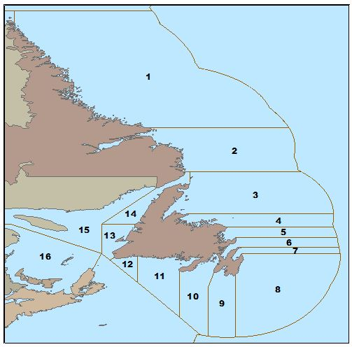 Map of Capelin fishing areas around Newfoundland and Labrador
