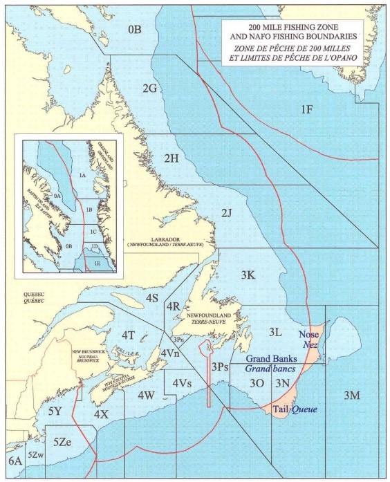 200 mile fishing zone and NAFO fishing boundaries. For details, see description that follows.