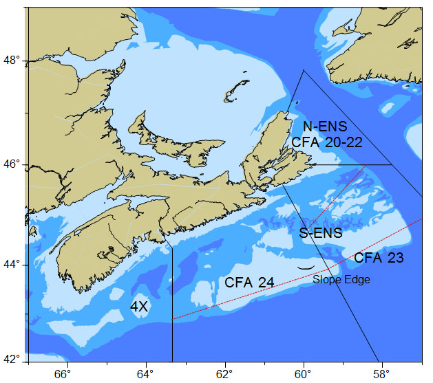 Map of Maritimes Region Crab Fishing areas