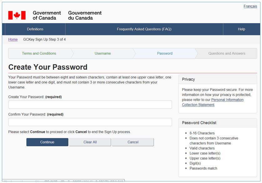 Screenshot - Create your password
