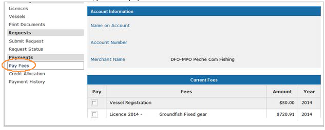 This is an image of the Pay Fees screen, where the Pay Fees hyperlink is circled in orange
