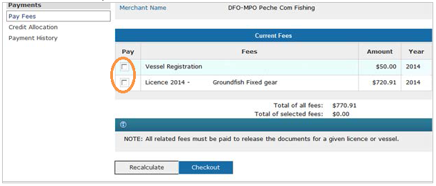 This is an image of the Pay Fees screen, where the fee checkboxes are circled in orange