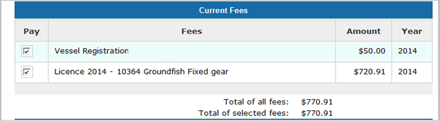 This is an image of the Pay Fees screen