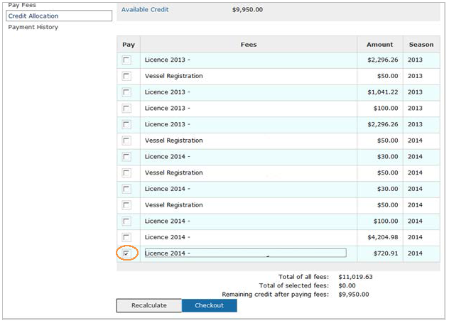 This is an image of the Credit Allocation screen, where the fee checkbox is circled in orange