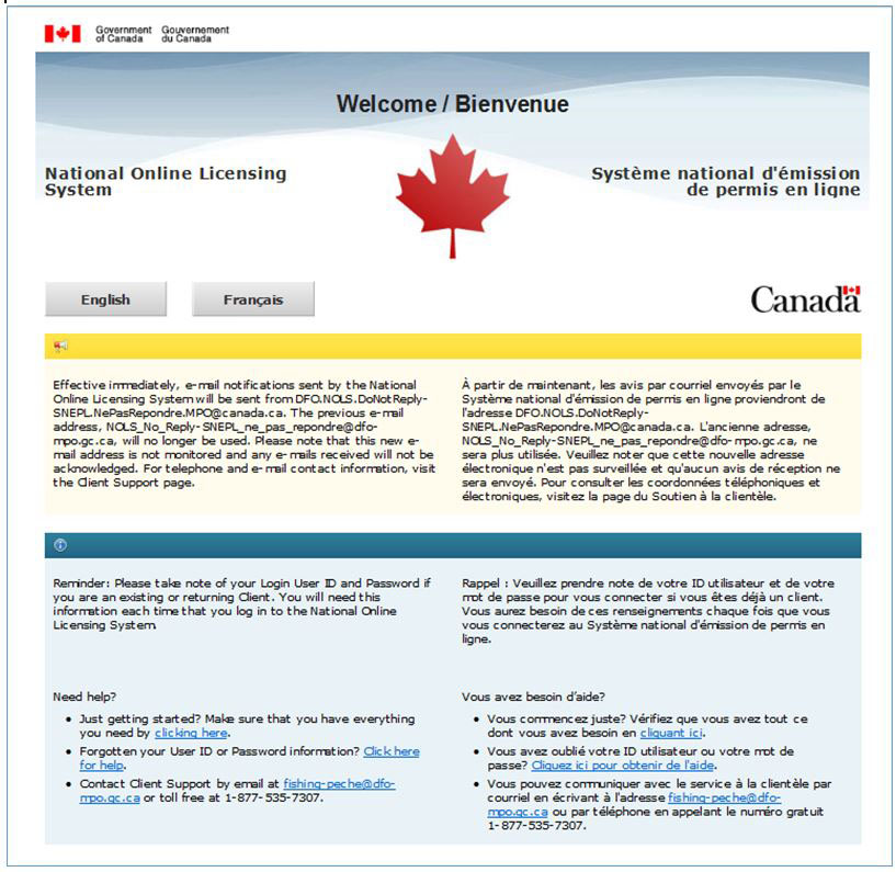 Image of the National Online Licensing System Welcome page