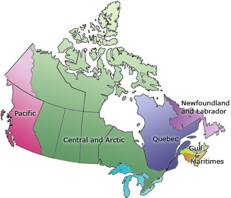 Map of Canada - DFO Six administrative regions