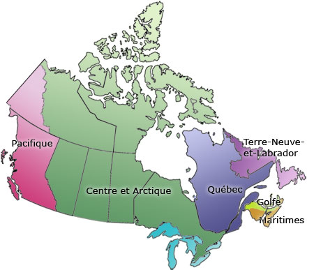 Carte du Canada - Six régions administratives