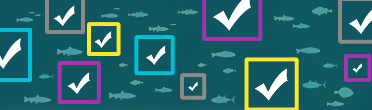 Several Checkmarks in boxes of various sizes and animated fish swimming.