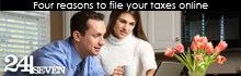 Four reasons to file your taxes online. A man and woman look at their computer together.
