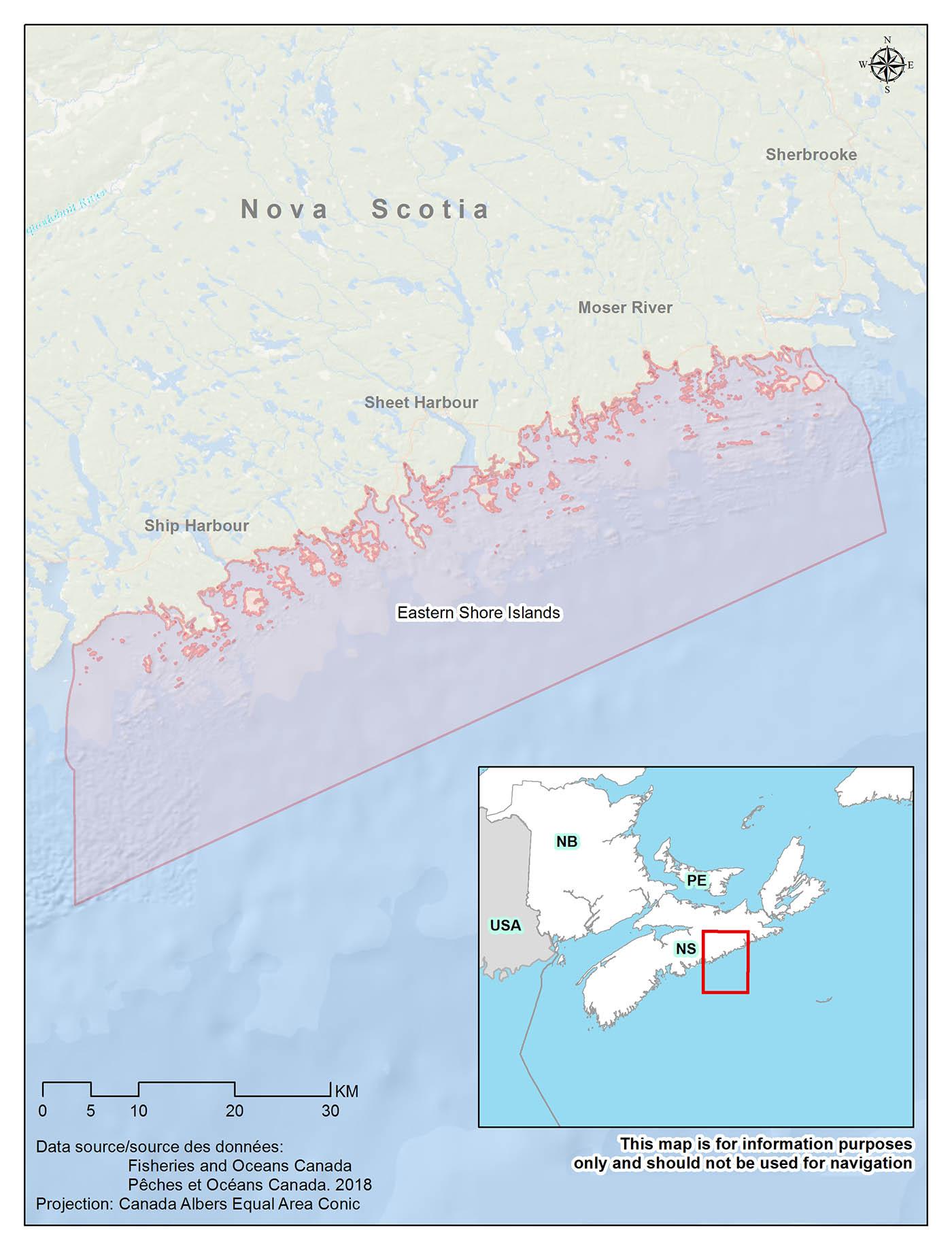 Islands Of Canada Map.Eastern Shore Islands Area Of Interest Aoi