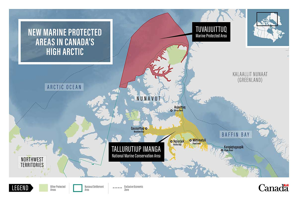 Map: New Marine Protected Areas in Canada's High Arctic.
