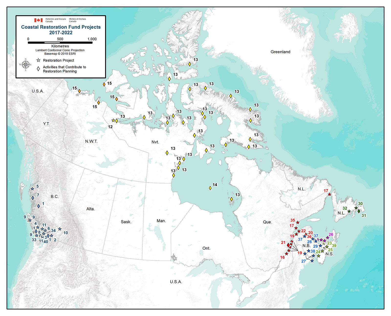 Map of Canada with funded projects identified.