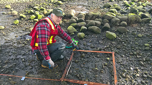Bill Heath, Project Watershed, conducting a benthic survey to collect baseline information prior to the project.