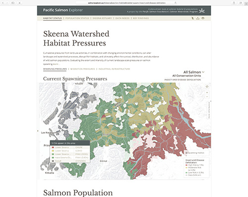 An example of the information that will be available to view on the Pacific Salmon Explorer.
