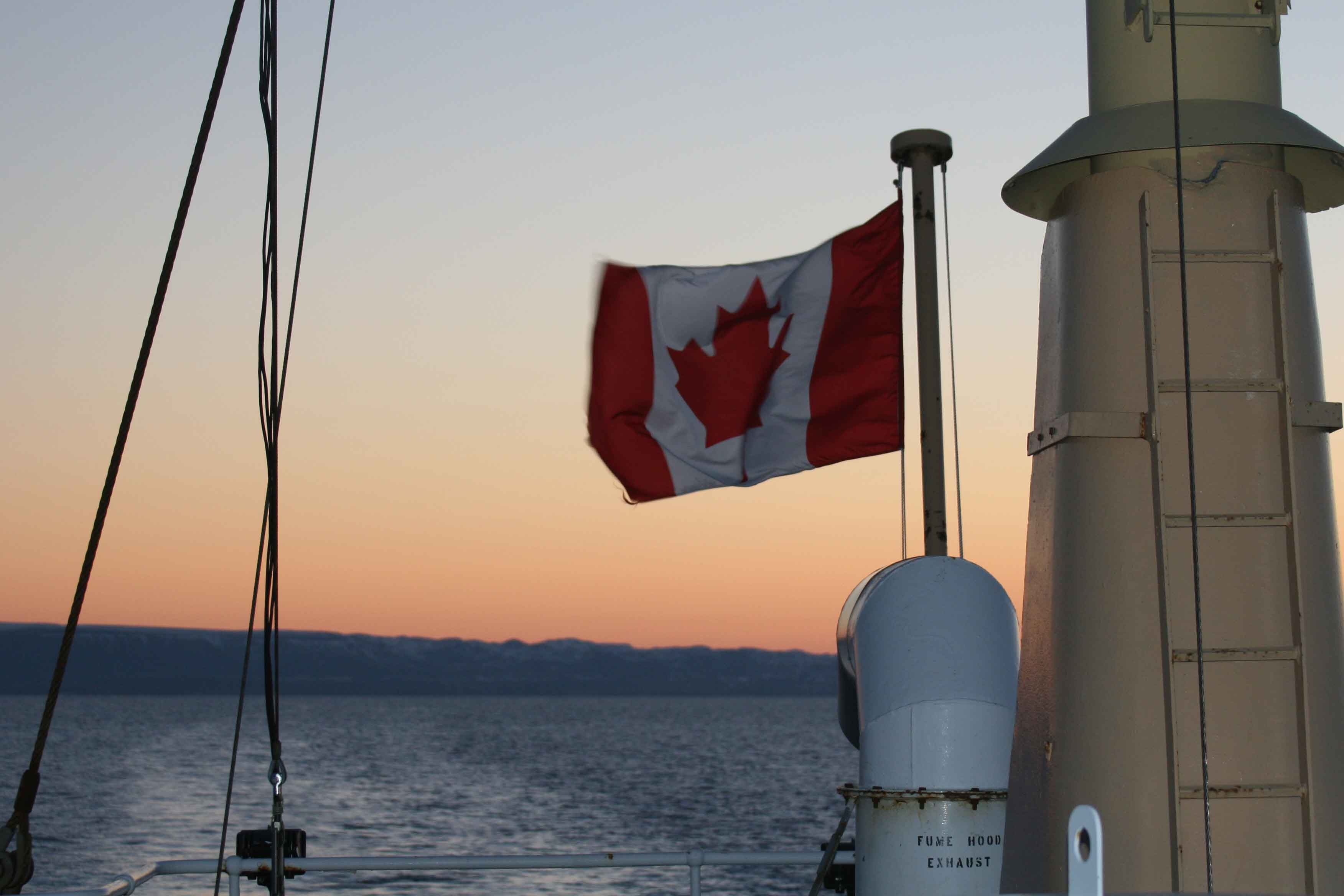 CCGS Hudson off the coast of Newfoundland & Labrador flying the Canadian flag. Photo Credit: Hilary Moors-Murphy