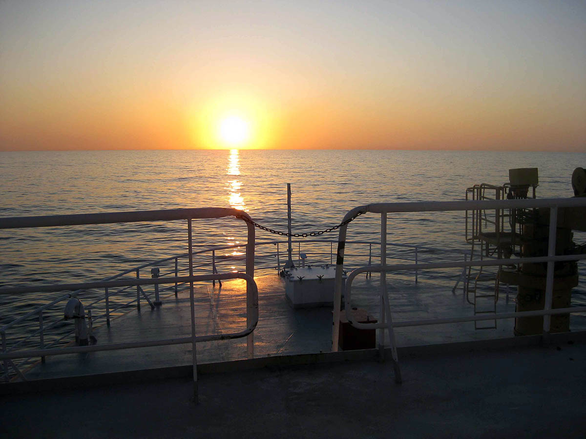 The horizon from CCGS vessel at sunset. Photo credit: Hilary Moors-Murphy