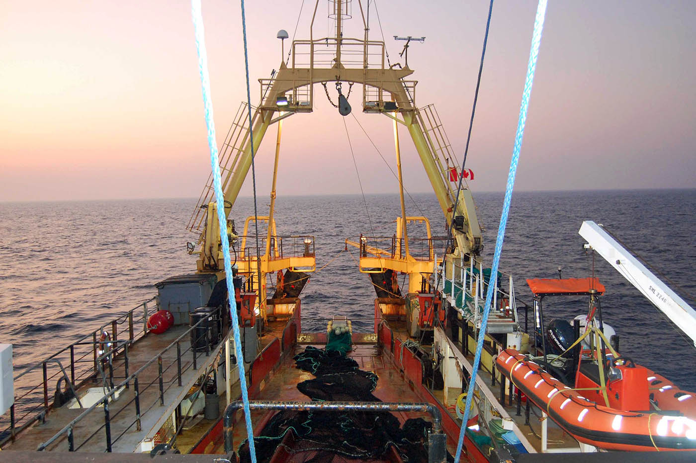 Ship at dusk with an IGYPT Trawl on deck. Photo Credit: Hilary Moors-Murphy