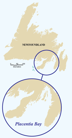 Map of Newfoundland, showing location of Placentia Bay