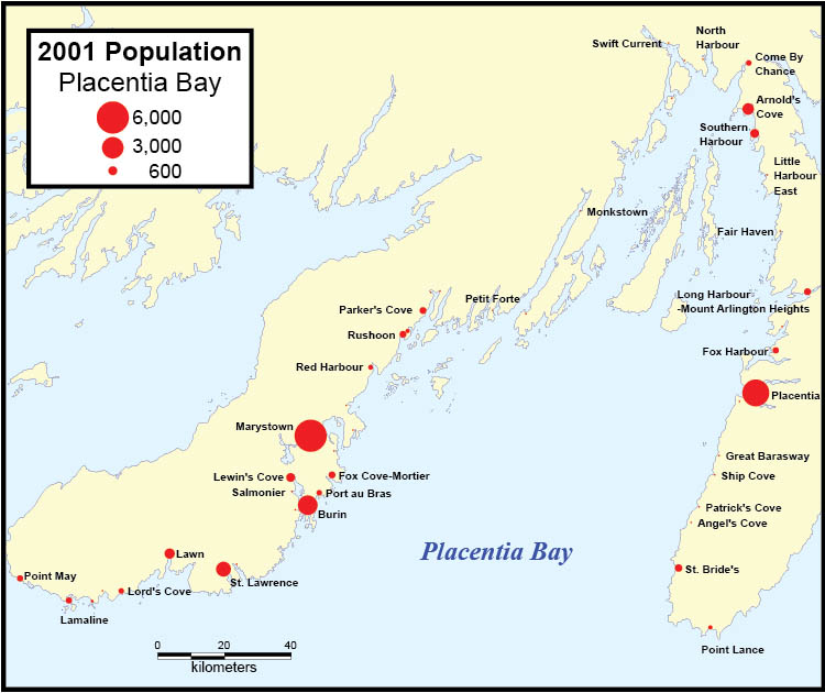 Map: 2001 Population, Placentia Bay
