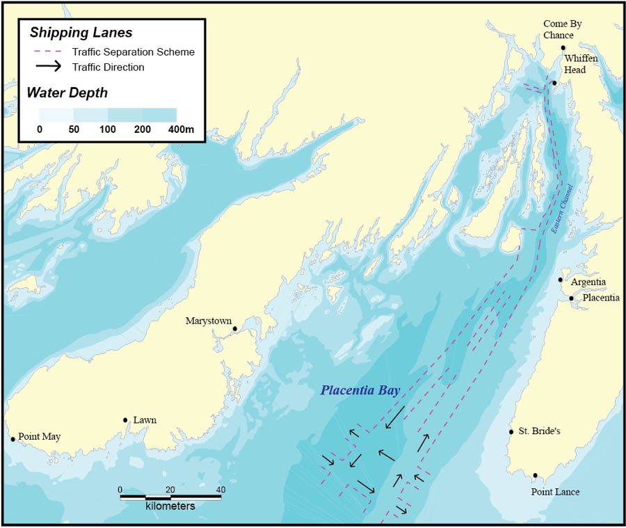 Map: Shipping Lanes and Water Depth (Bathymetry)