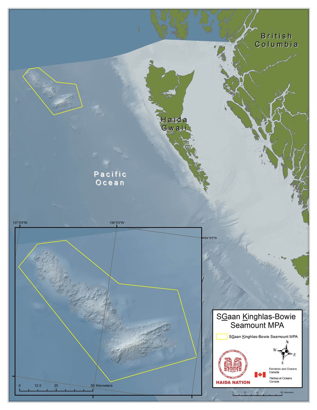 Figure 1. SGaan Kinghlas–Bowie Seamount Marine Protected Area Map