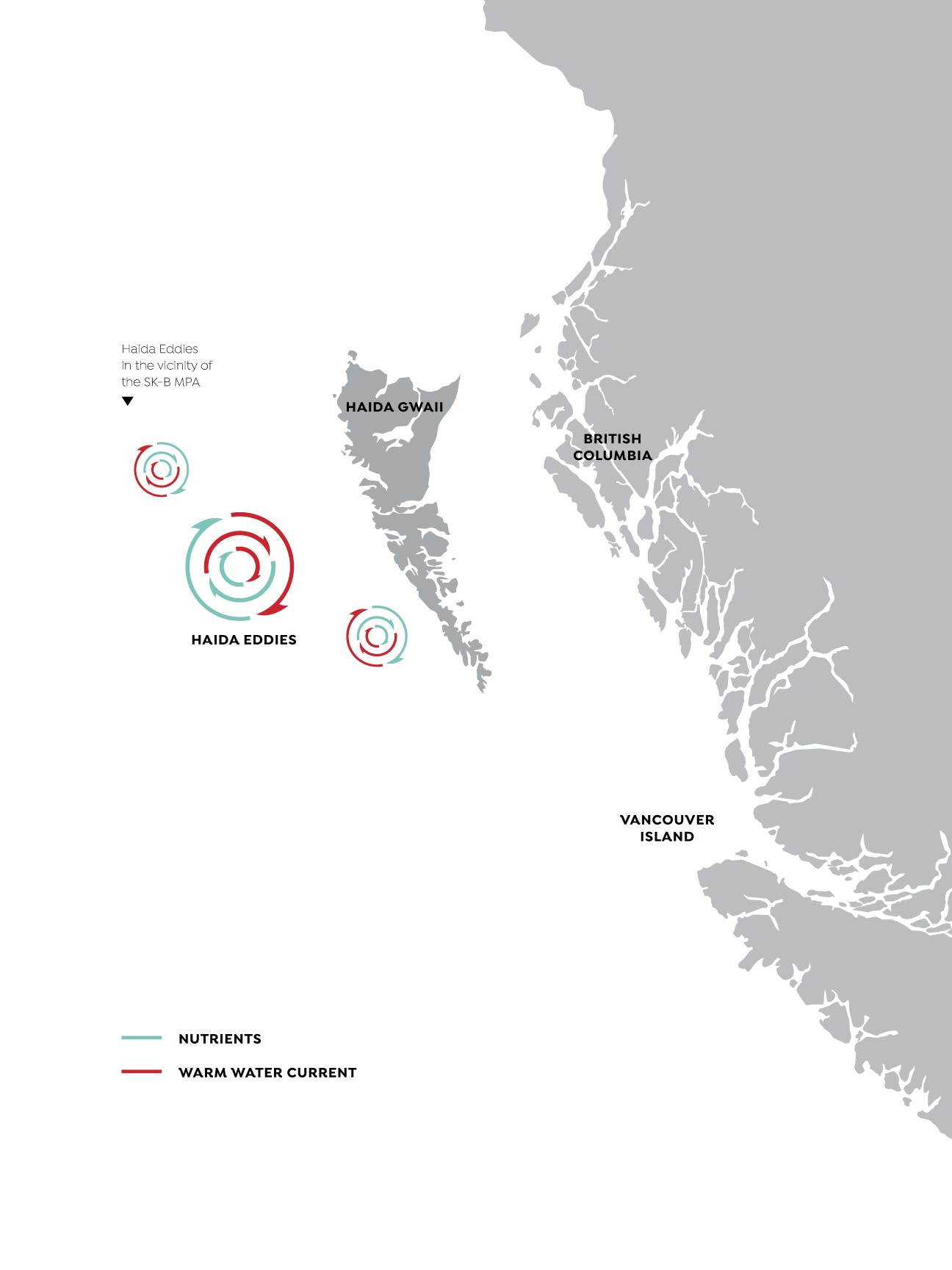 Figure 2. Haida Eddies in the vicinity of the SK-B MPA.