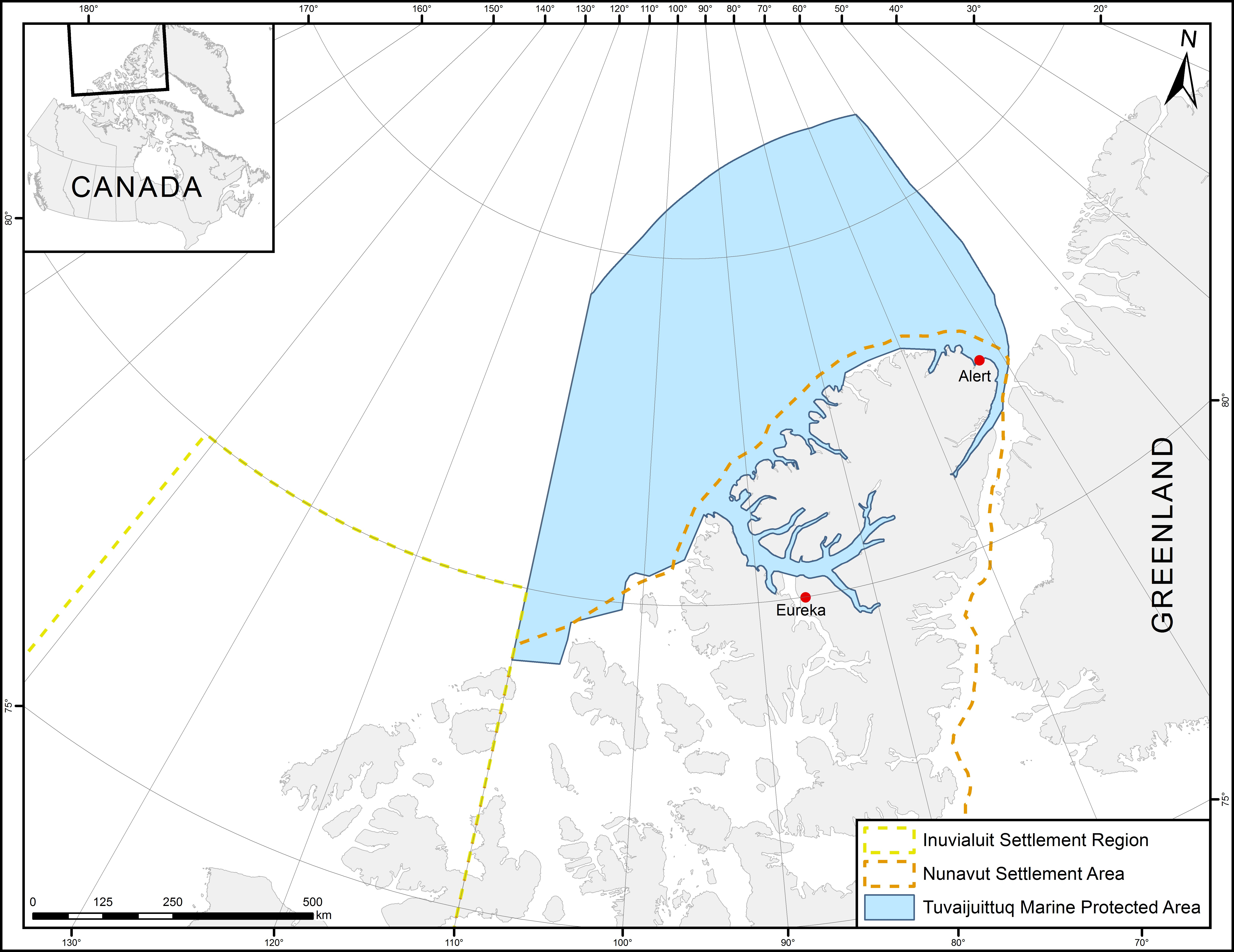 Figure 1. Map of the Tuvaijuittuq Marine Protected Area