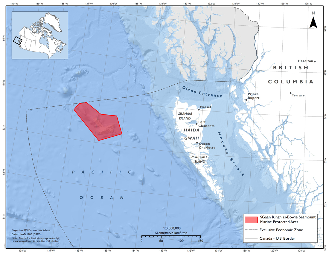 Map: SGaan Kinghlas-Bowie Seamount Marine Protected Area (SK-B MPA)
