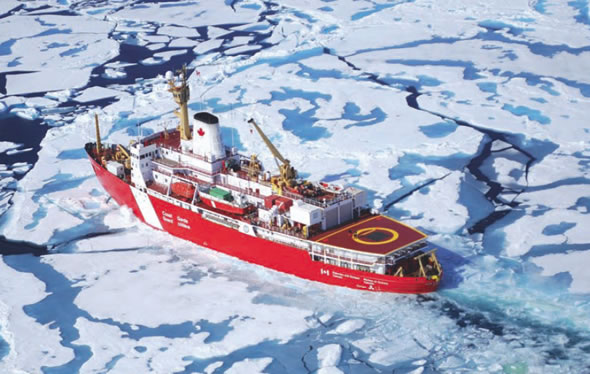 CCGS Louis S. St-Laurent bearing its International Polar Year Insignia