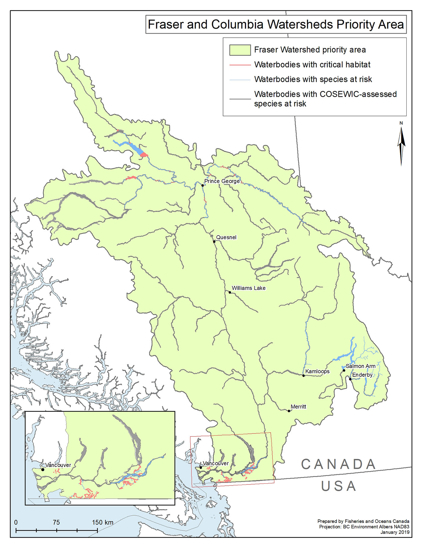 Map Of Canada With Water Bodies.Canada Nature Fund For Aquatic Species At Risk Priority Places And