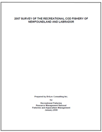 Cover page of the 2007 Survey of the Recreational Cod Fishery of Newfoundland and Labrador
